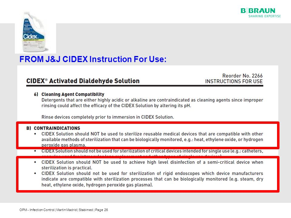 FROM J&J CIDEX Instruction For Use: