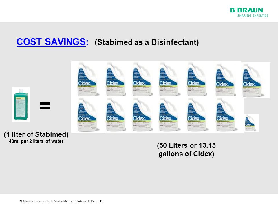COST SAVINGS: (Stabimed as a Disinfectant)
