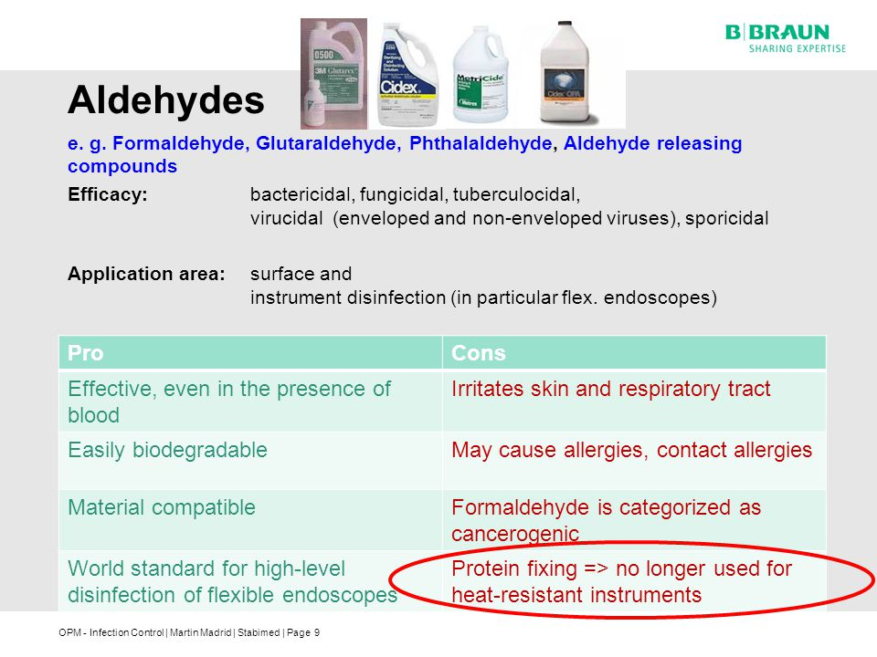 Aldehydes Pro Cons Effective, even in the presence of blood