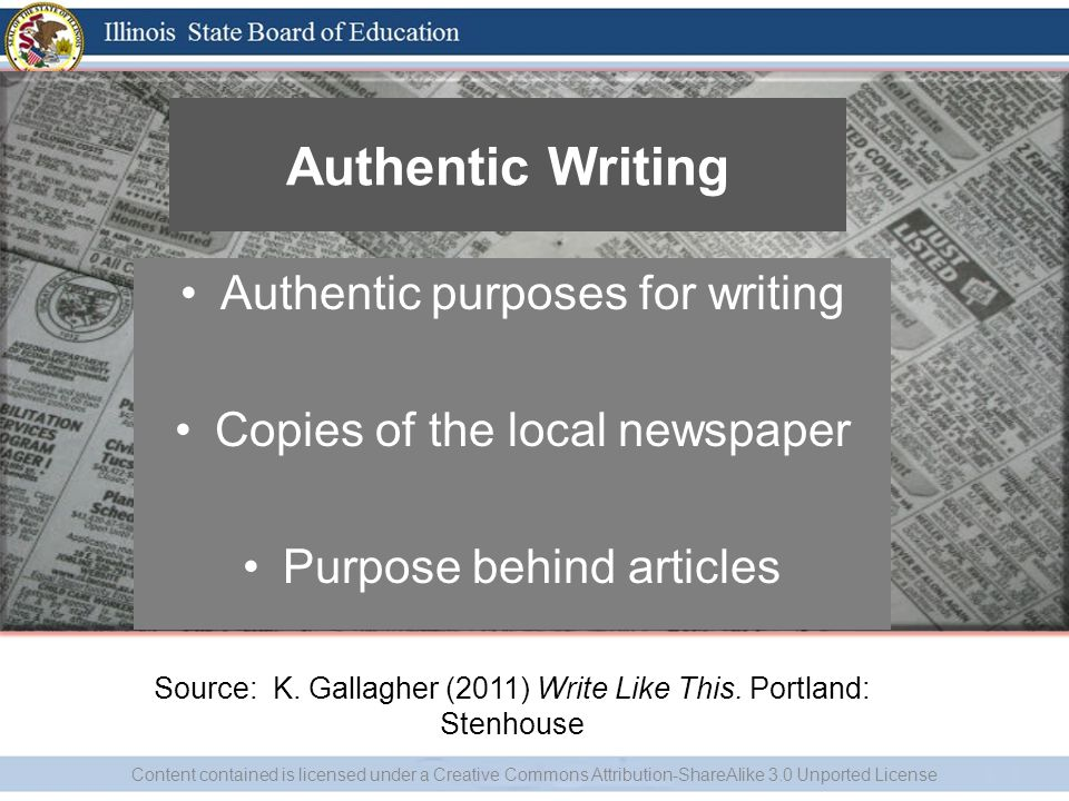 Authentic Writing Authentic purposes for writing