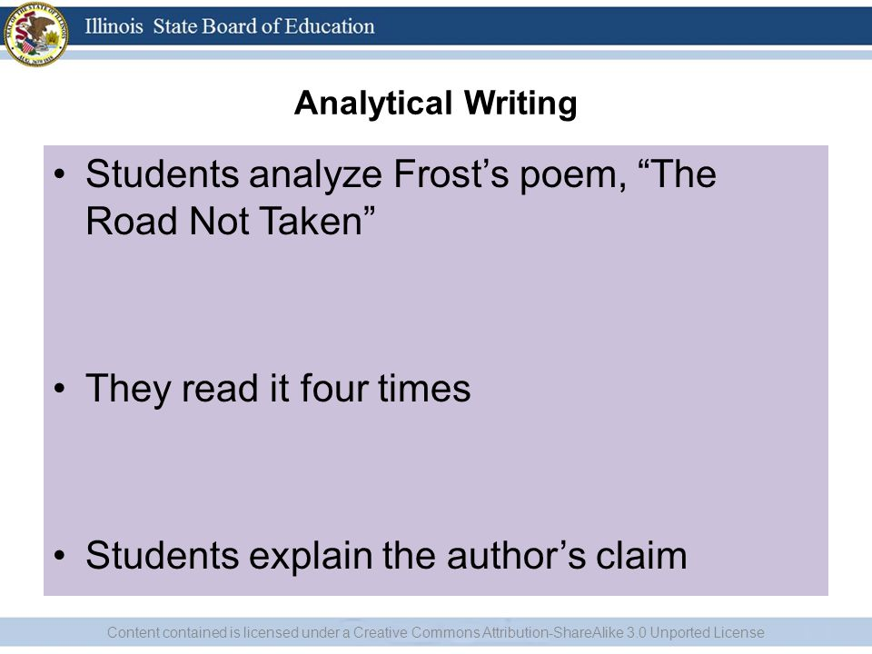 Students analyze Frost's poem, The Road Not Taken