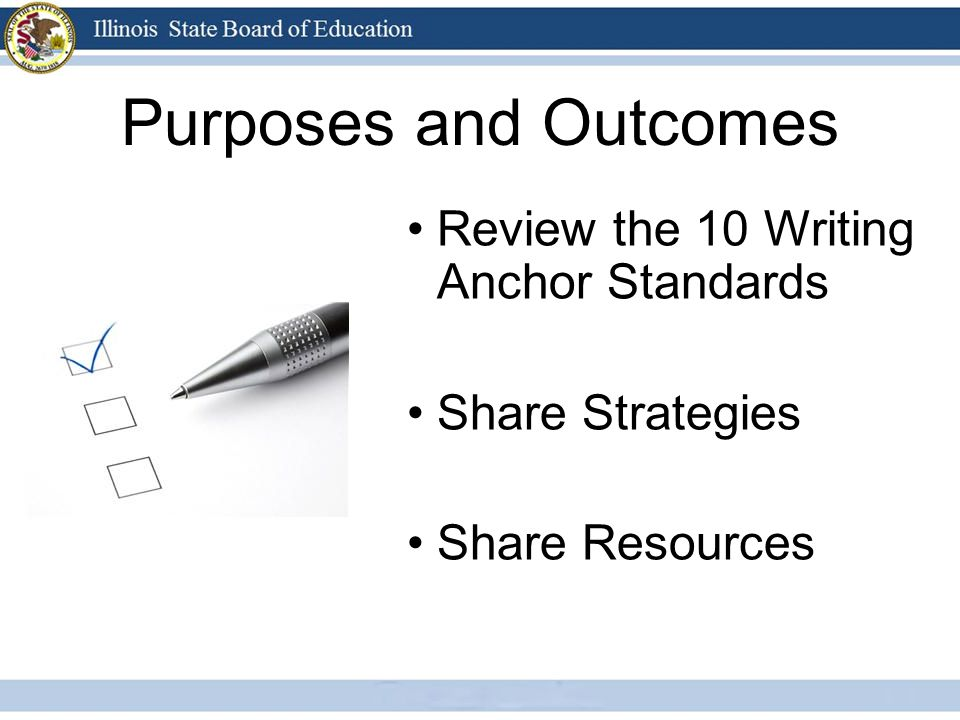 Purposes and Outcomes Review the 10 Writing Anchor Standards