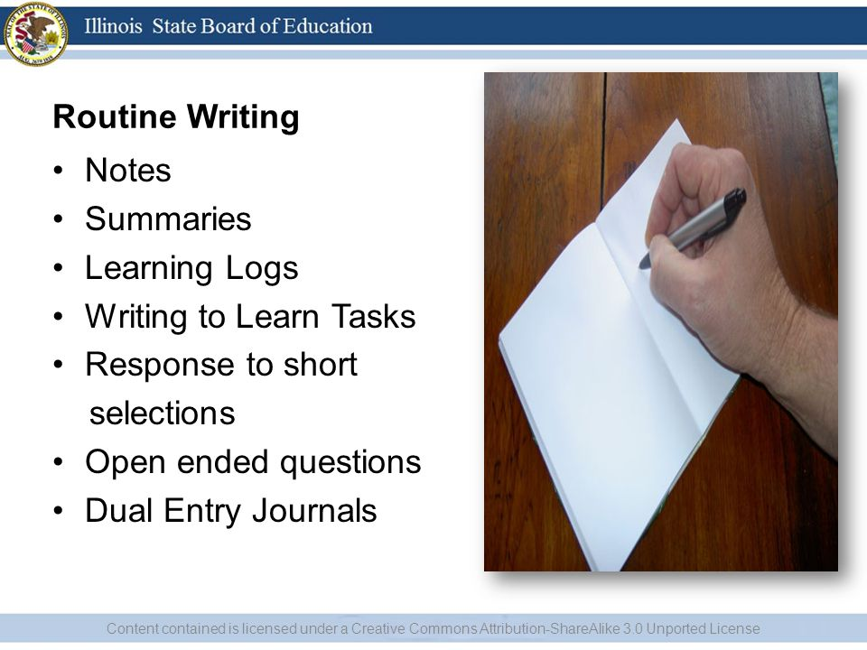 Routine Writing Notes Summaries Learning Logs Writing to Learn Tasks
