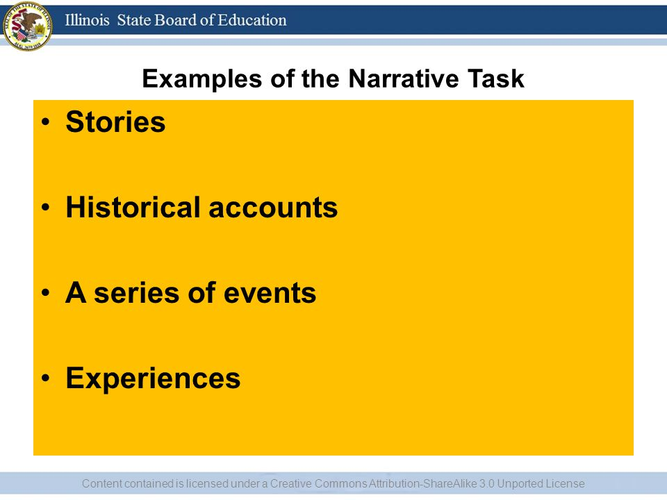 Examples of the Narrative Task