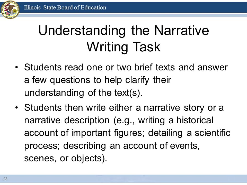 narrative essay tasks Learn how to write an excellent descriptive essay in 6 easy steps along with 100   overall, such task would mean telling about the appearance, actions,.