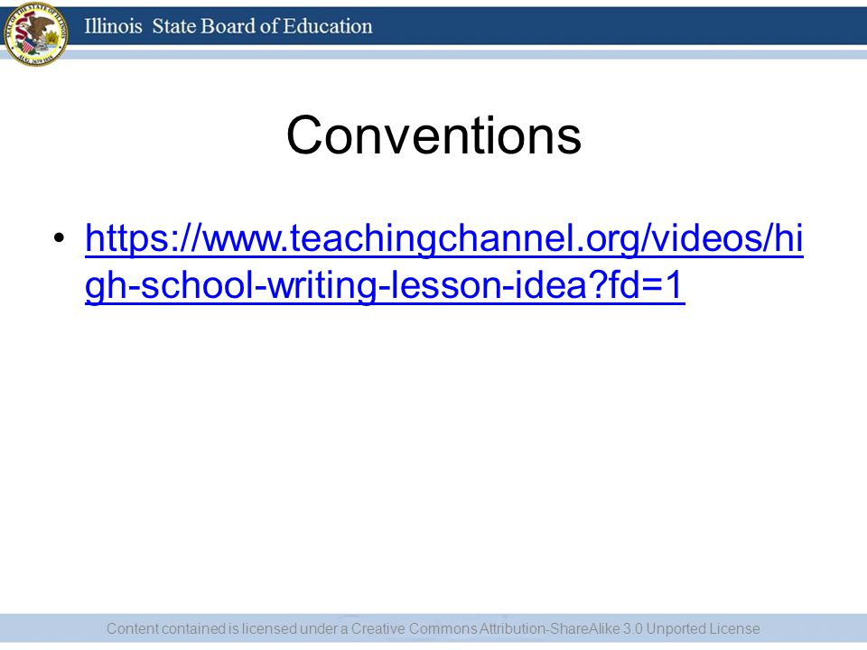 Conventions https://www.teachingchannel.org/videos/high-school-writing-lesson-idea fd=1.