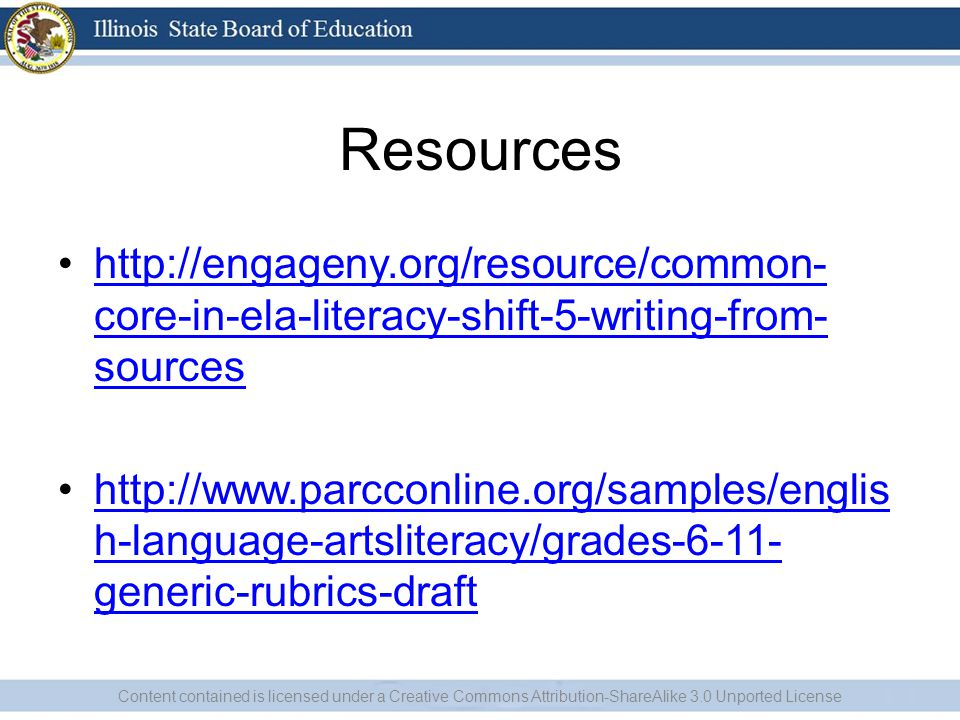 Resources http://engageny.org/resource/common-core-in-ela-literacy-shift-5-writing-from-sources.