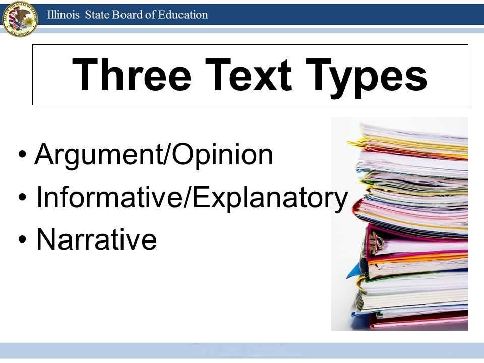 Three Text Types Argument/Opinion Informative/Explanatory Narrative 7