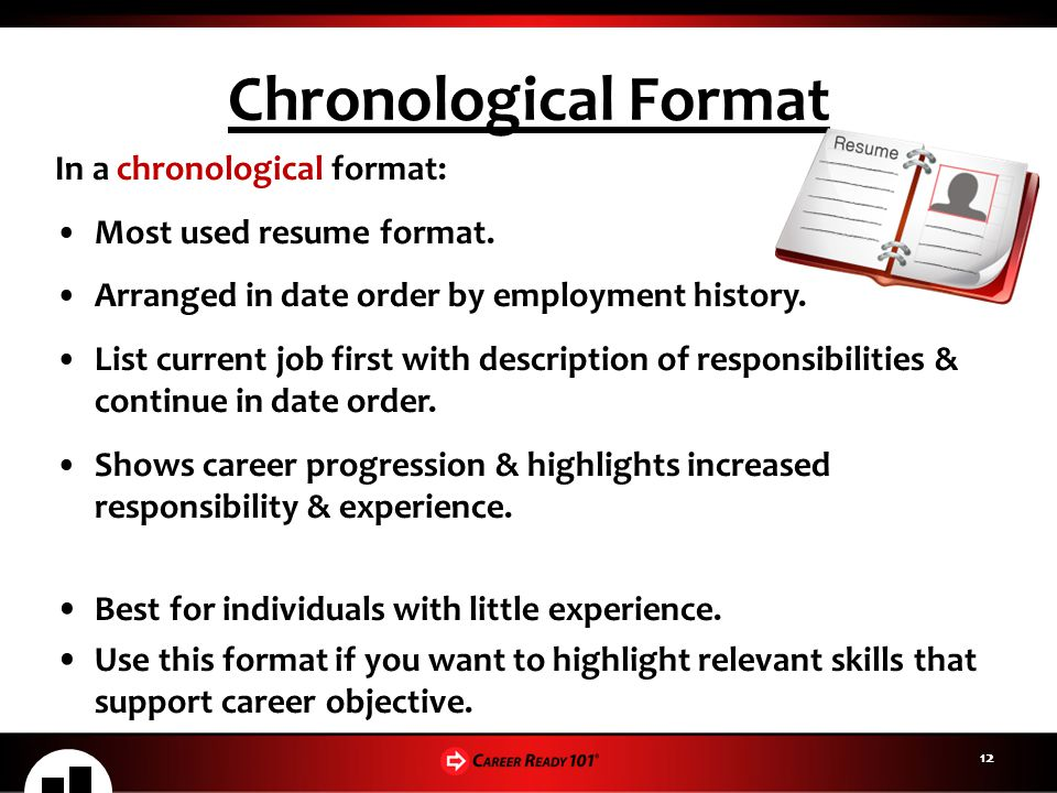 Chronological Format In a chronological format:
