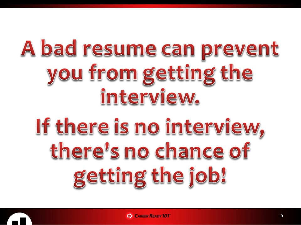 A bad resume can prevent you from getting the interview.