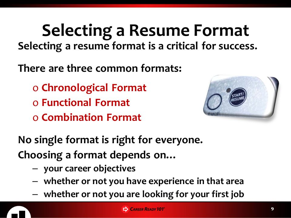 Selecting a Resume Format