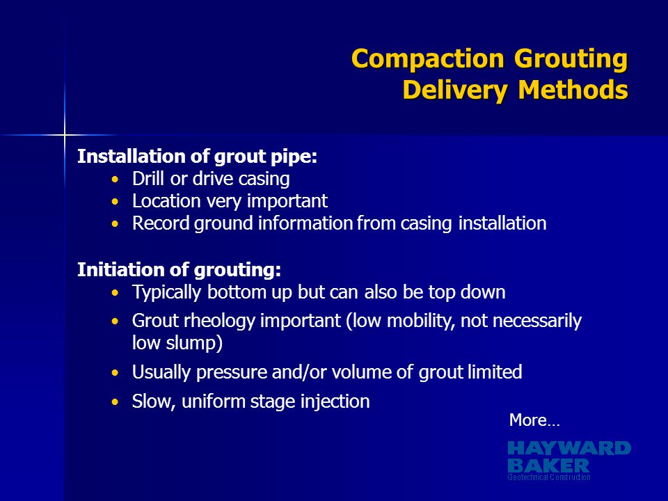 Compaction Grouting Delivery Methods