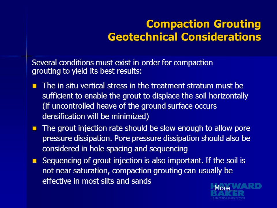 Compaction Grouting Geotechnical Considerations