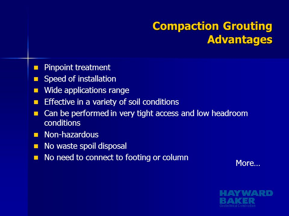 Compaction Grouting Advantages