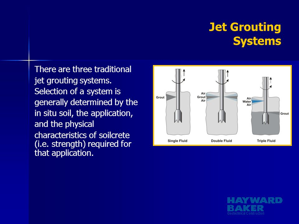 Jet Grouting Systems There are three traditional jet grouting systems.