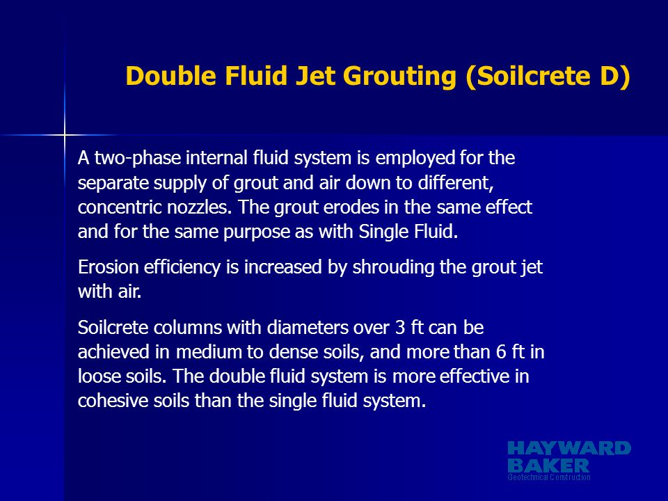 Double Fluid Jet Grouting (Soilcrete D)