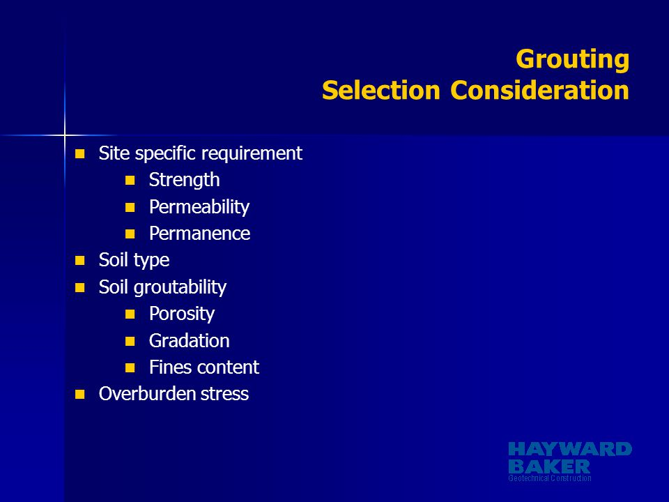 Grouting Selection Consideration