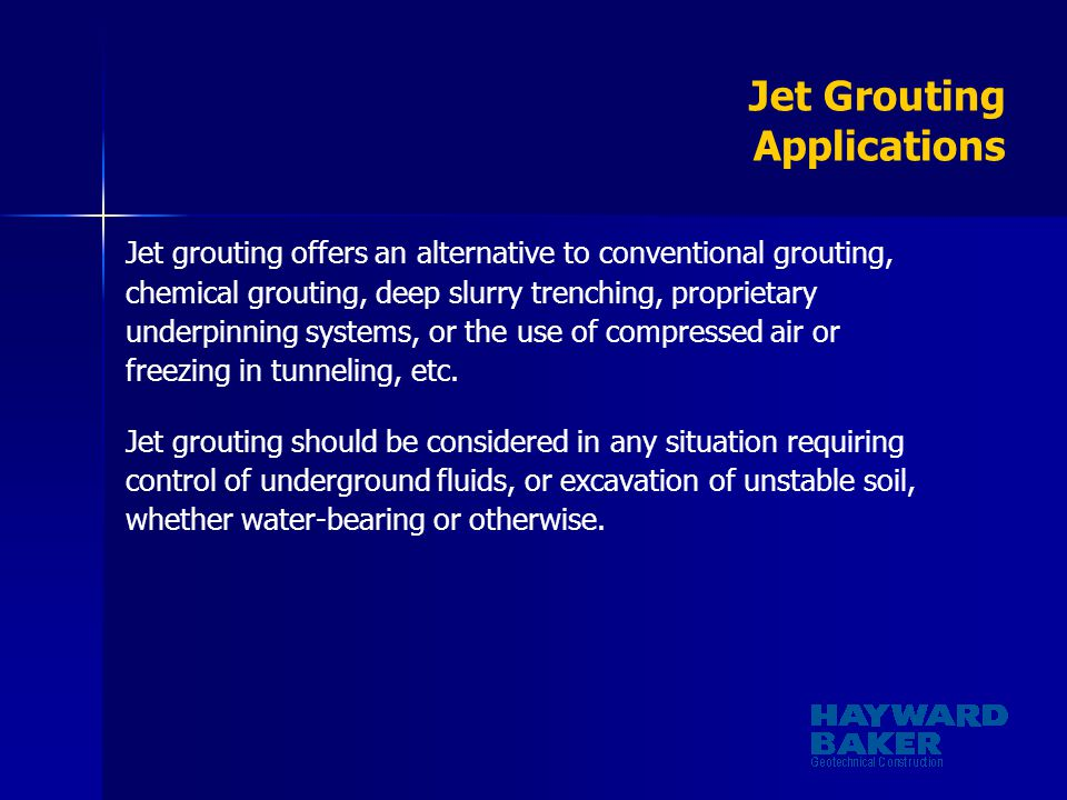 Jet Grouting Applications