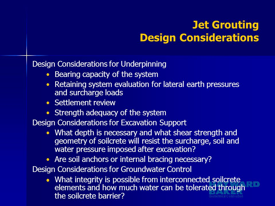 Jet Grouting Design Considerations