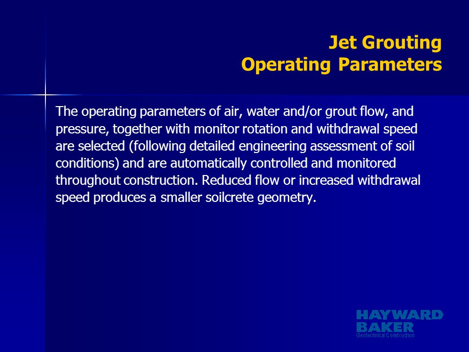 Jet Grouting Operating Parameters