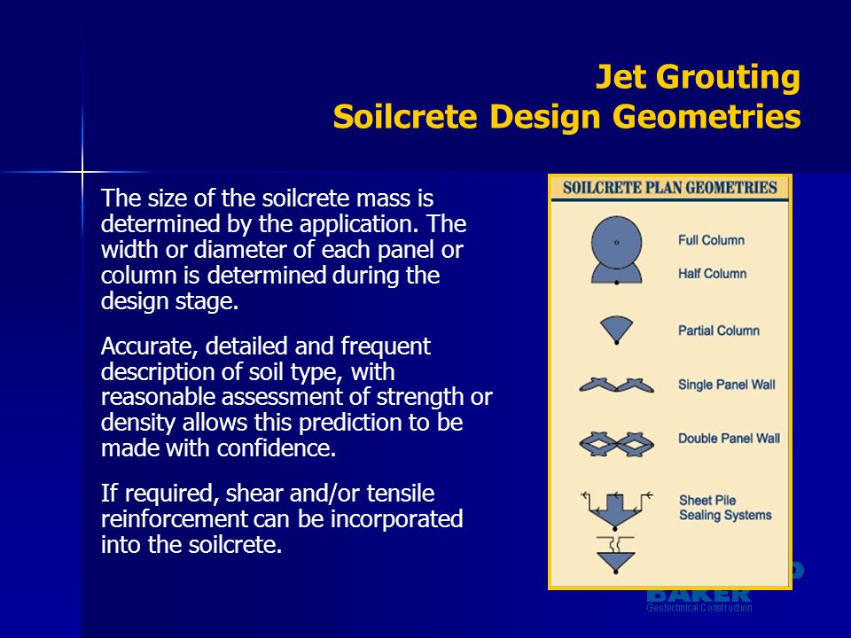 Jet Grouting Soilcrete Design Geometries