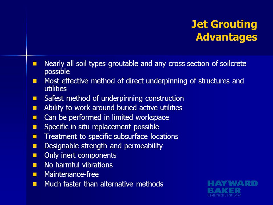 Jet Grouting Advantages