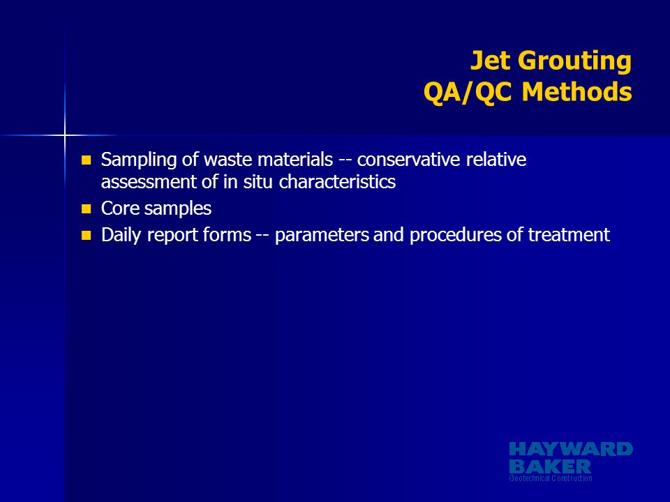 Jet Grouting QA/QC Methods