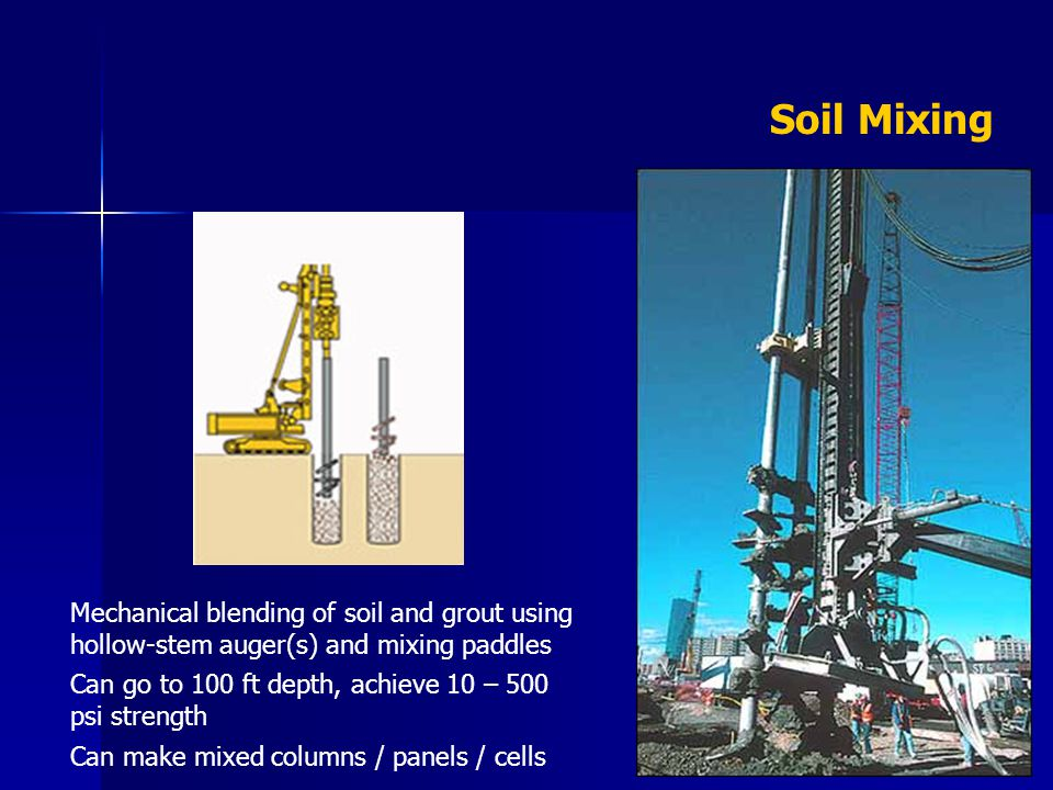 Soil Mixing Mechanical blending of soil and grout using hollow-stem auger(s) and mixing paddles.