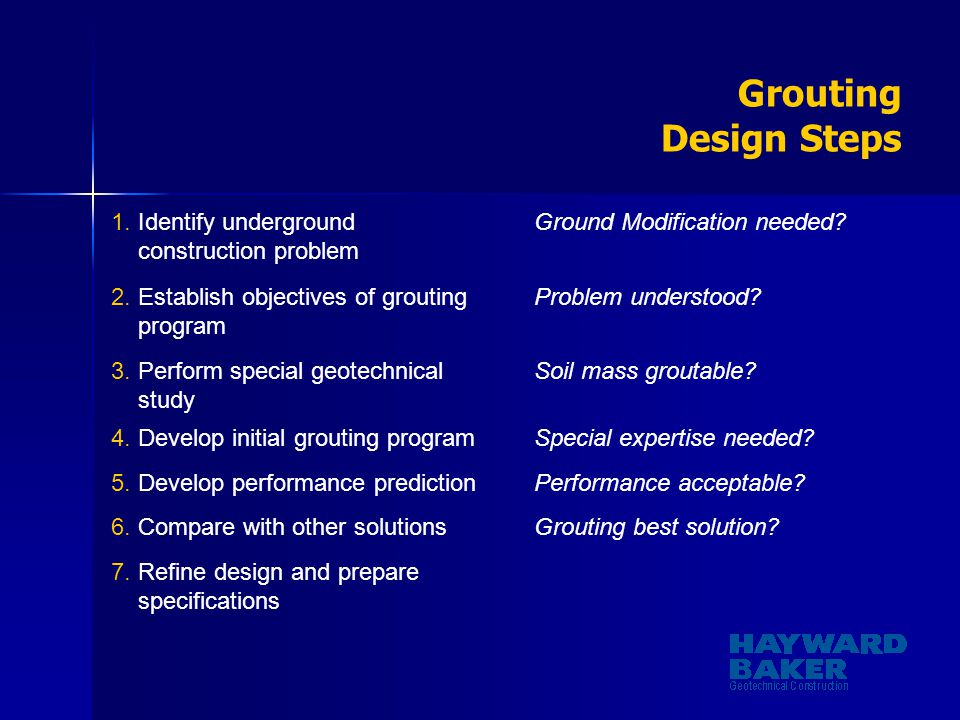 Grouting Design Steps Identify underground construction problem
