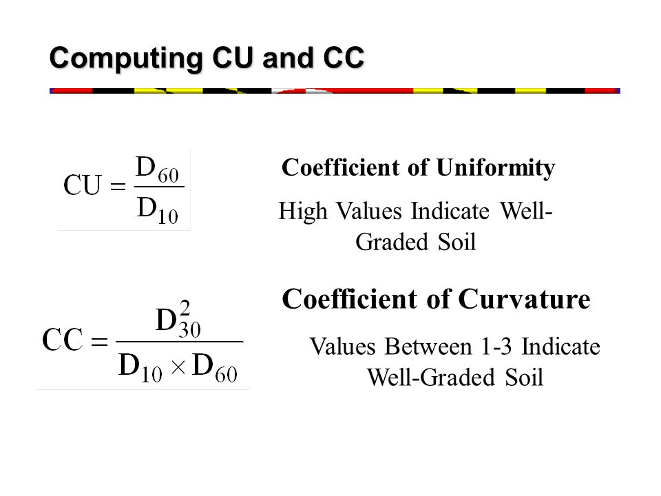 Coefficient of Uniformity Coefficient of Curvature