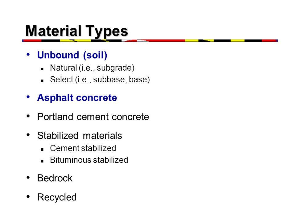 Material Types Unbound (soil) Asphalt concrete