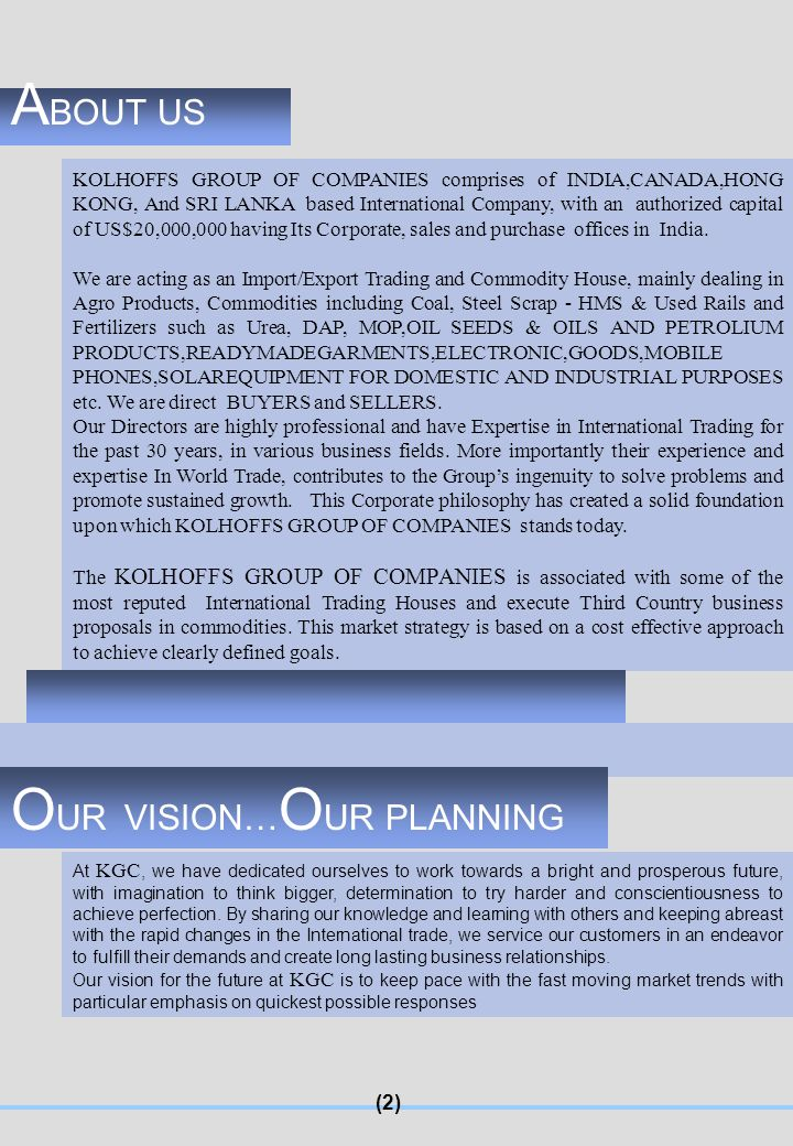 OUR VISION…OUR PLANNING
