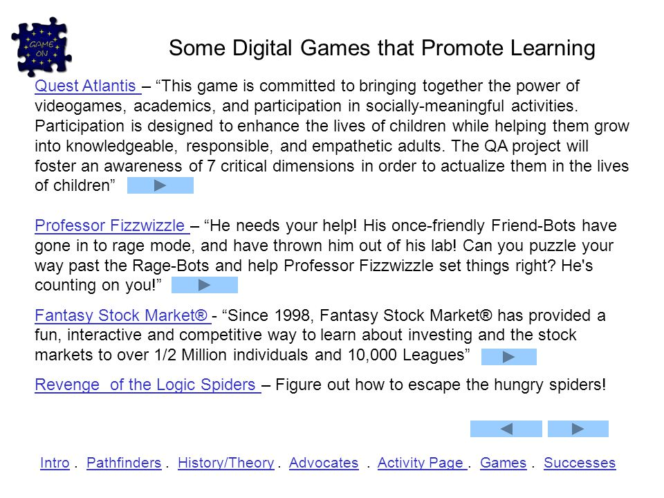 Some Digital Games that Promote Learning