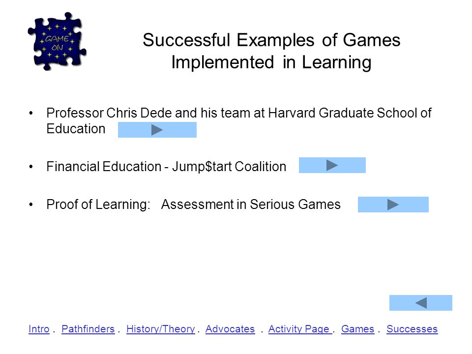 Successful Examples of Games Implemented in Learning