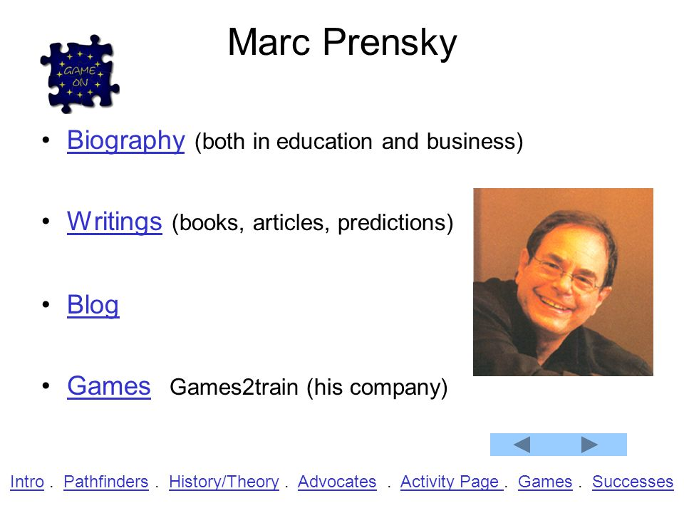 Marc Prensky Biography (both in education and business)