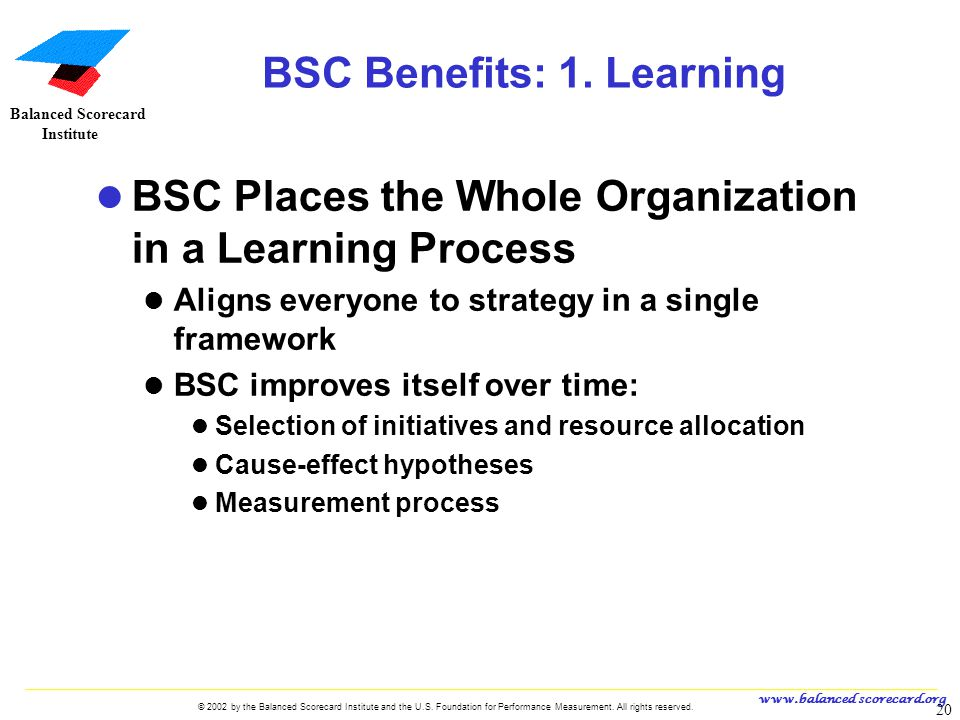 BSC Benefits: 1. Learning