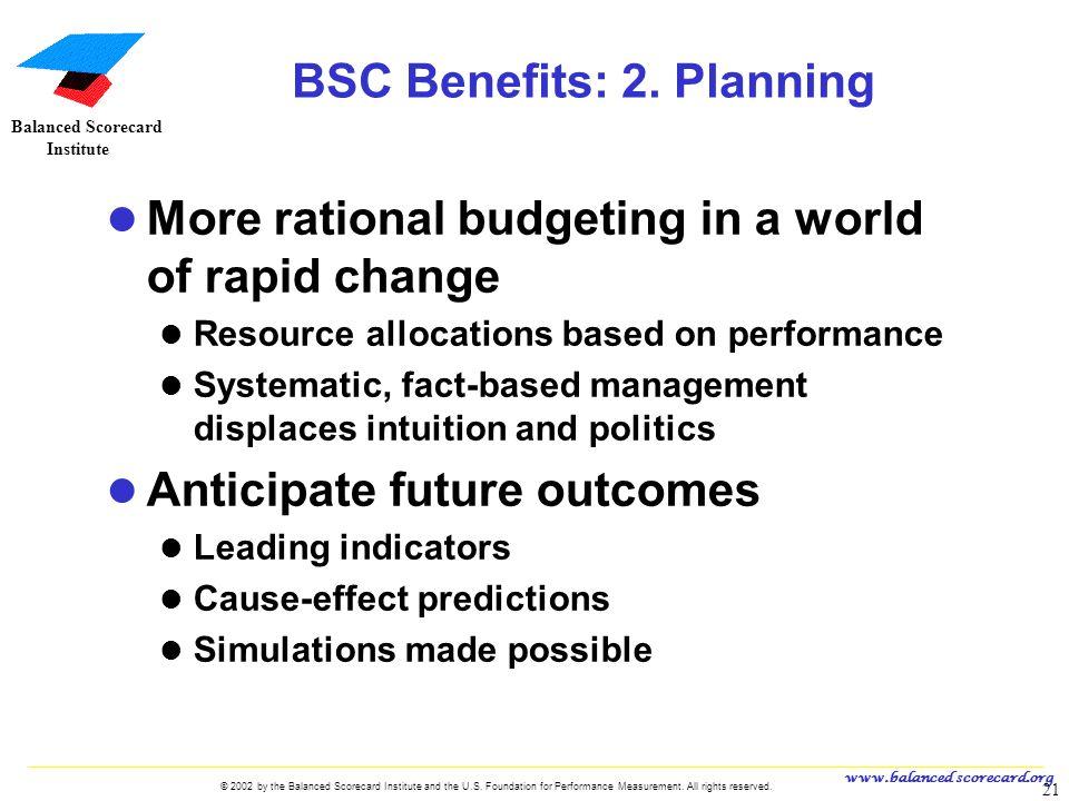 BSC Benefits: 2. Planning
