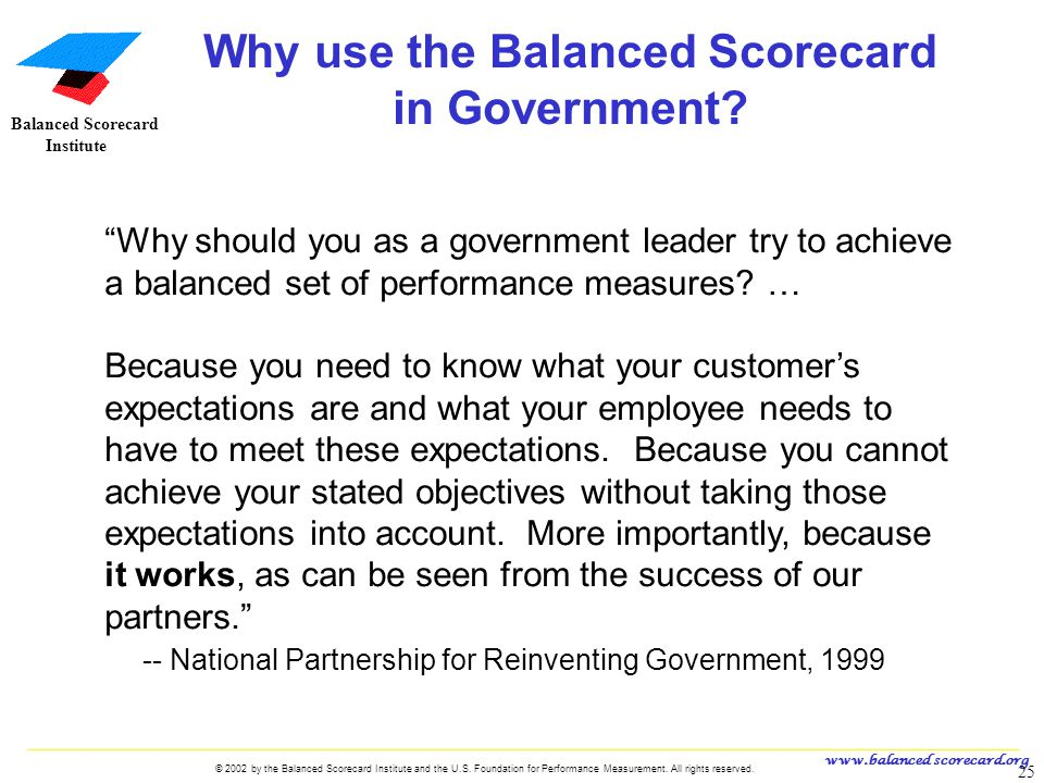 Why use the Balanced Scorecard in Government