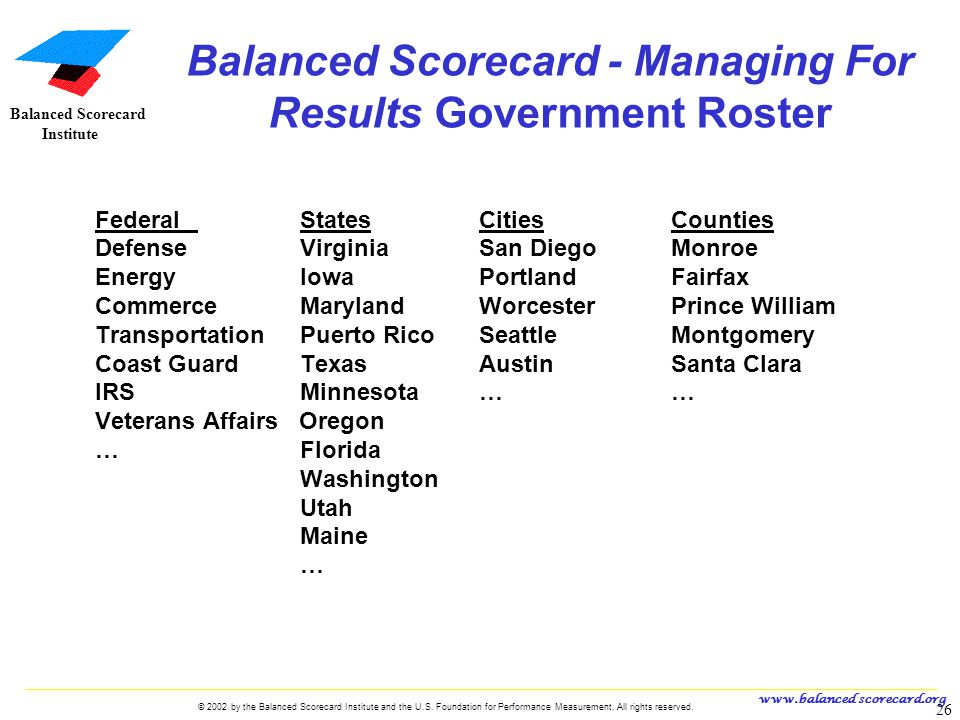 Balanced Scorecard - Managing For Results Government Roster