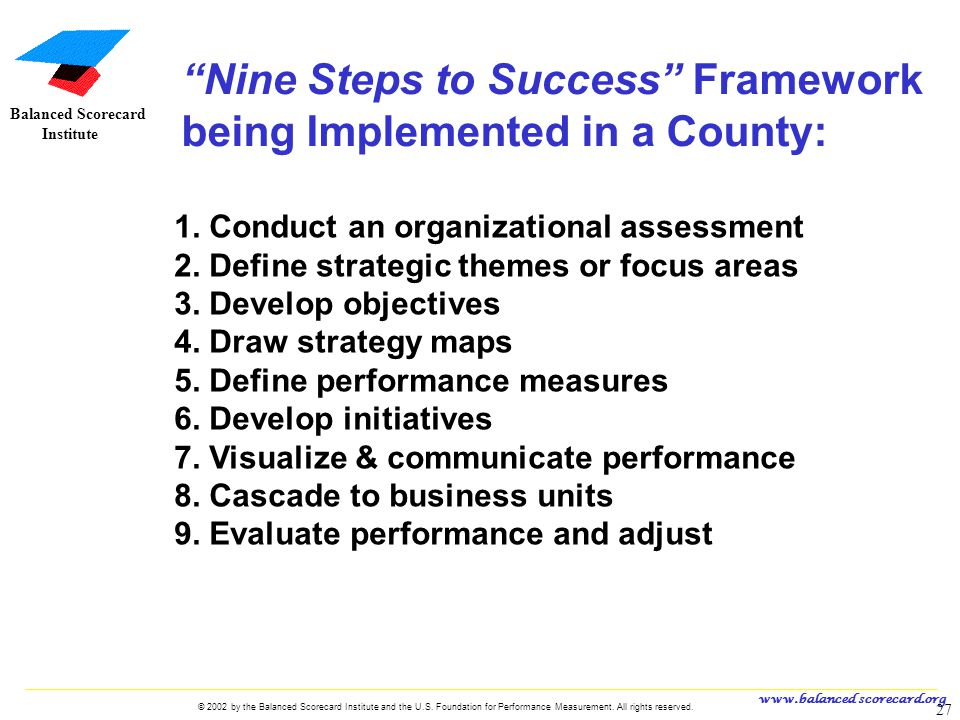 Nine Steps to Success Framework being Implemented in a County: