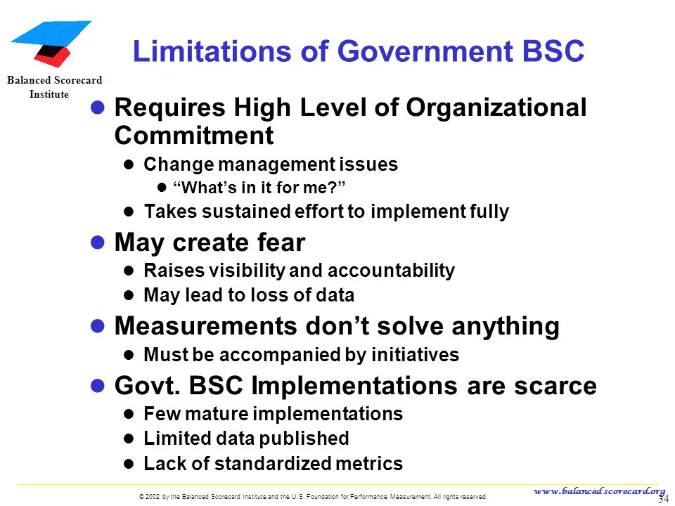 Limitations of Government BSC