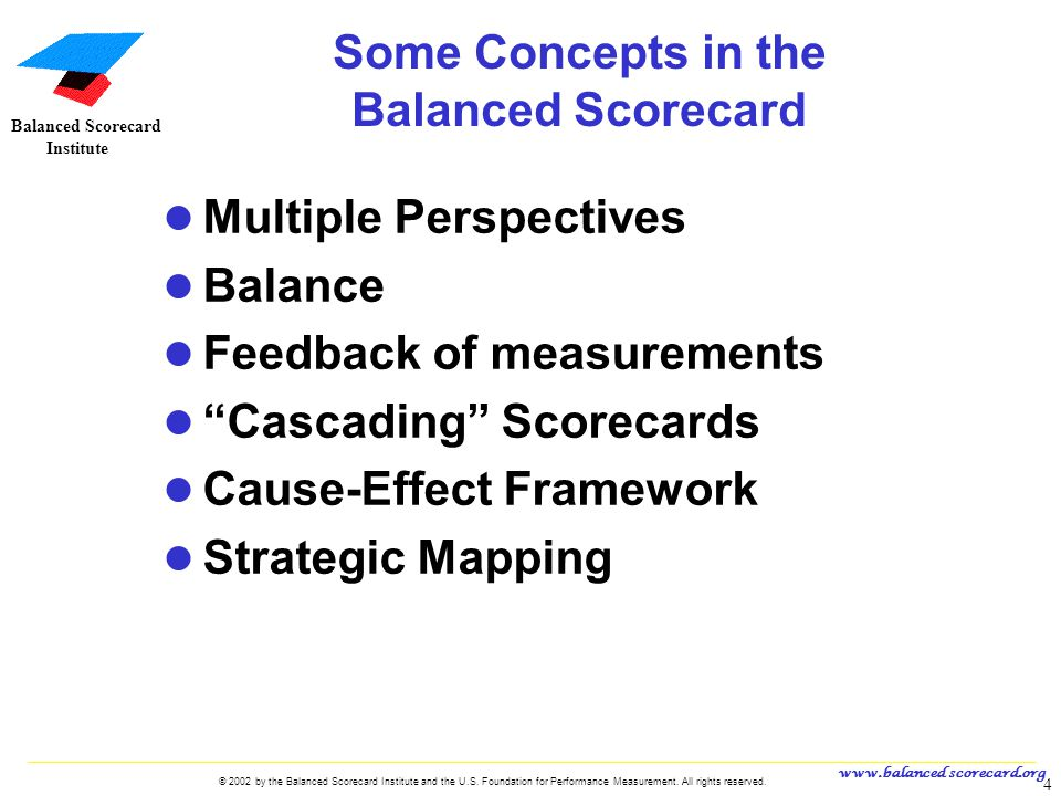 Some Concepts in the Balanced Scorecard