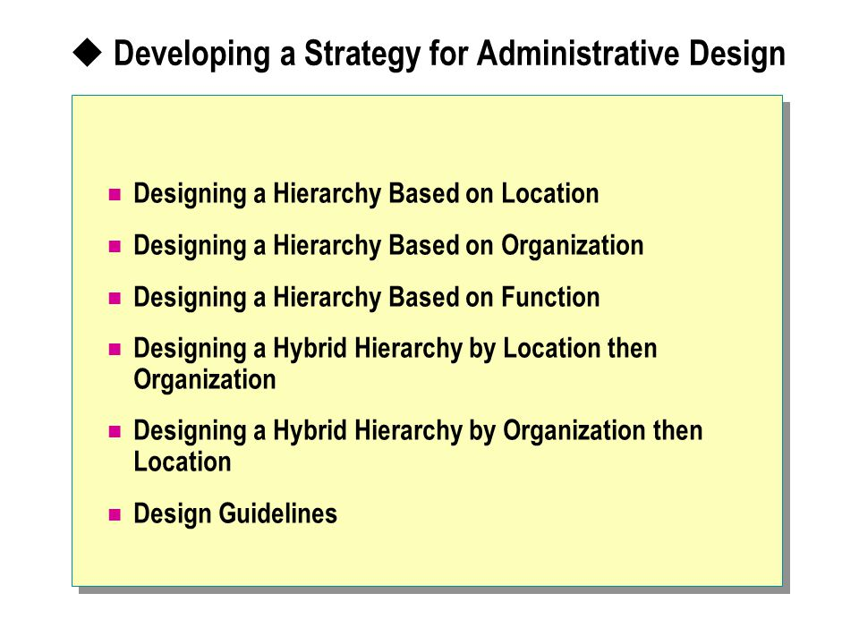 Developing a Strategy for Administrative Design