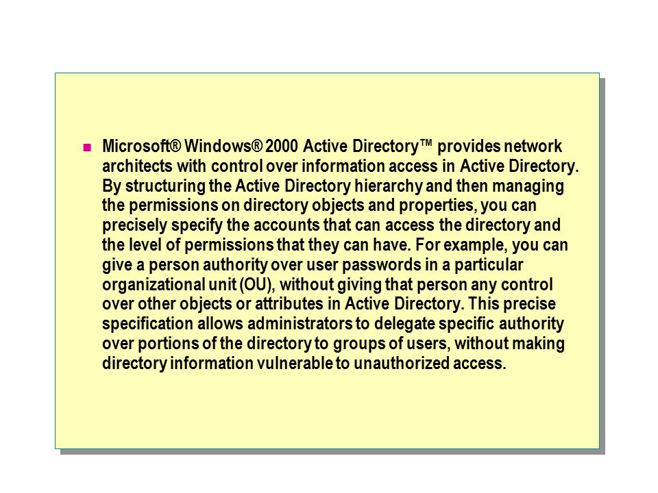 Microsoft® Windows® 2000 Active Directory™ provides network architects with control over information access in Active Directory.