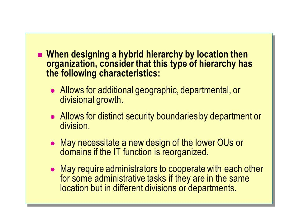 When designing a hybrid hierarchy by location then organization, consider that this type of hierarchy has the following characteristics: