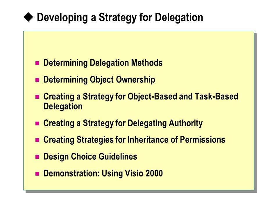 Developing a Strategy for Delegation