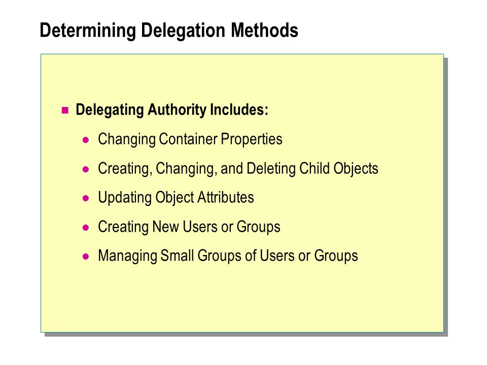 Determining Delegation Methods