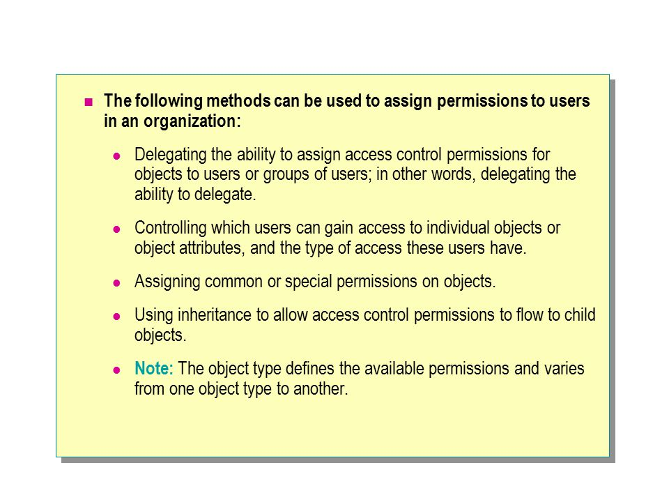The following methods can be used to assign permissions to users in an organization: