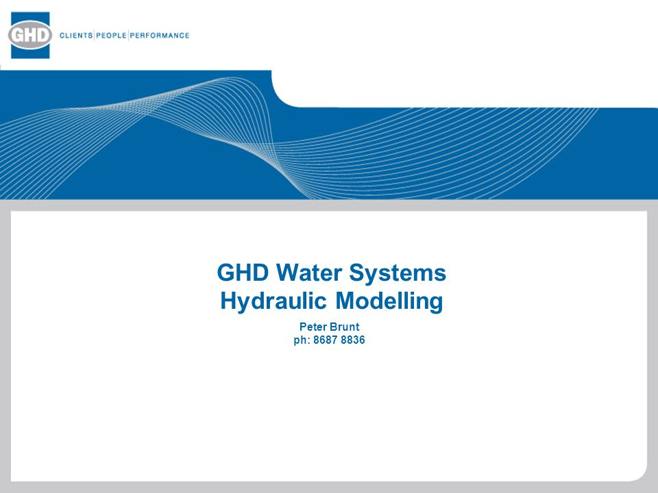 GHD Water Systems Hydraulic Modelling