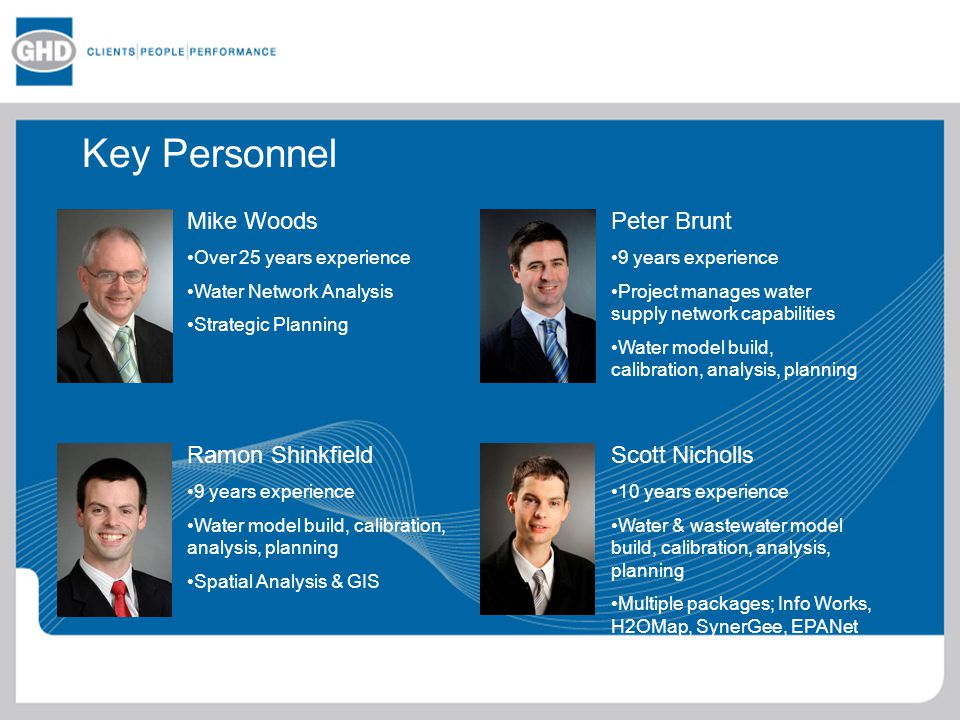 Key Personnel Mike Woods Peter Brunt Ramon Shinkfield Scott Nicholls